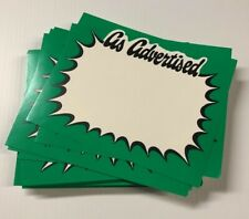 Retail Sale Signs As Advertised Price Display Signs Green 50 Pcs 55x7