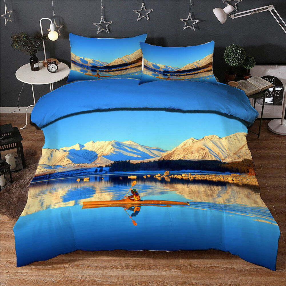 Blau Lake Of Dream 3D Quilt Duvet Doona Cover Set Single Double Queen King Print