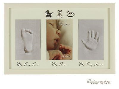 Baby Hand Print Foot Print Plaster Cast Kit Photo Frame Boys Girls Christening