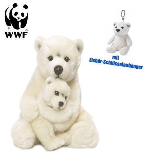 WWF Plüschtier Eisbärmutter mit Baby (32cm) mit Schlüsselanhänger Kuscheltier