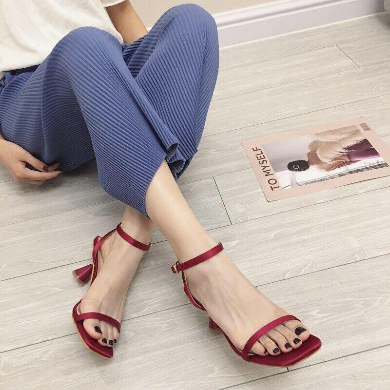 Ciabatte eleganti sandali tacco rocchetto rojo 5 cm pelle sintetica 1106