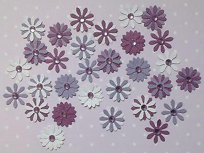 Flower Embellishments, GRAPE , approx 30 pieces, with Rhinestones
