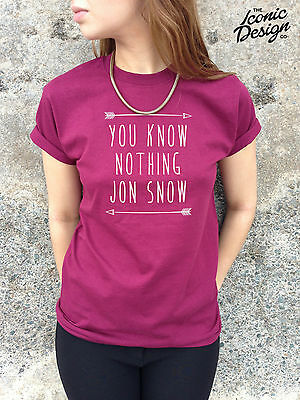 * YOU KNOW NOTHING JON SNOW T-shirt Top Shirt Tumblr Fashion Slogan *