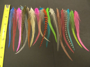 30 REAL WHITING GRIZZLY AND SOLID ROOSTER FEATHERS FOR HAIR EXTENSIONS CRAFTS