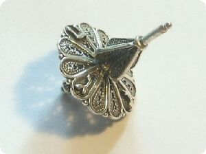 Dreidel Sterling Silver Filigree for Hanukkah (Made in Israel) - Cute 1-1/4""