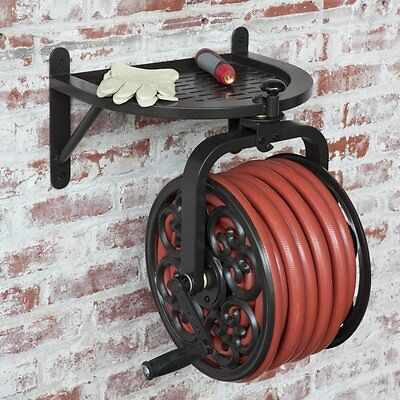 Liberty Garden Products 710 Rotating Hose Reel, Wall-Mount, Steel, Holds  125-Ft