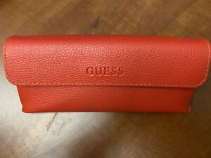 New! GUESS Red Eyeglass & Sunglass Case with  & Cleaning Cloth