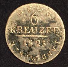 German States Saxe-Coburg-Saalfeld Ernst I  6 Kreuzer 1825 S .305 Silber KM# 138