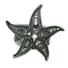 Anello stella marina argento brunito stile filigrana sarda Starfish silver ring