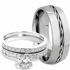 3PCS-Men-039-s-TITANIUM-amp-Women-039-s-STERLING-SILVER-Engagement-Wedding-Rings-Band-Set