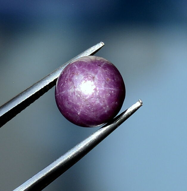 Natural Star Ruby Round Cabochon 8 mm 4.36 Cts Unheated Red Shade Loose Gemstone