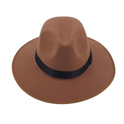 Hats Caps Panama Fedora Trilby Men Women Hard Felt Same Color Band Straight Brim