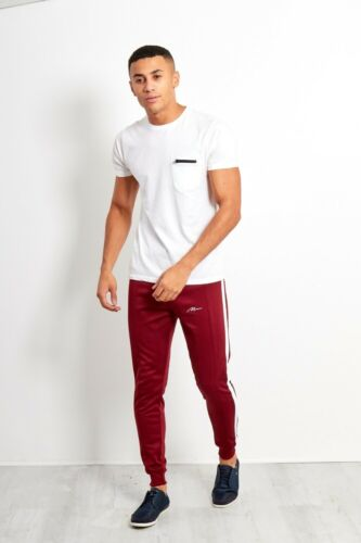 JUSTYOUROUTFIT NEW MENS BOYS LOGO DOUBLE STRIPE JOGGING BOTTOM TR18MAN