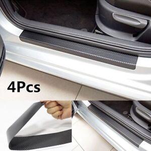 4Pcs-3D-Fibre-De-Carbone-Anti-Rayure-Porte-Voiture-Plaque-Autocollant-Sill-eraflures-Couvrir