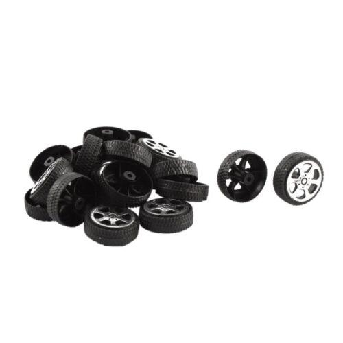 3X rollo de plástico 2mm Diámetro Eje Coche Camión Rueda Juguetes Modelo 20mmx6mm 20Pcs Q9V2
