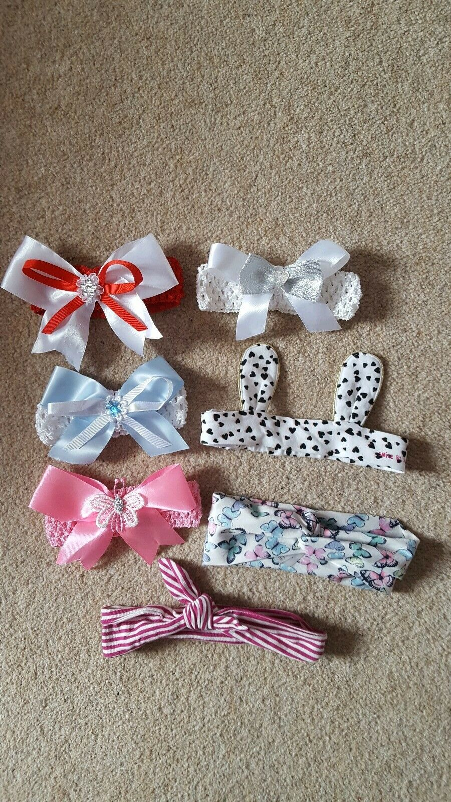 7 headbands one size baby girl pink blue red white butterfly