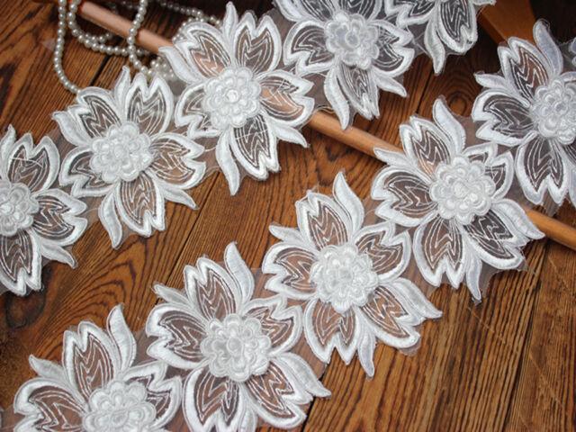 Exquisite 3D Organza Alencon Lace Trim in Off White For Bridal, Wedding cuff