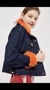Uk finiture Giacca denim con 4 Topshop in Moto Us arancione in sintetica pelliccia 8 Nwt nqgxpOB1x