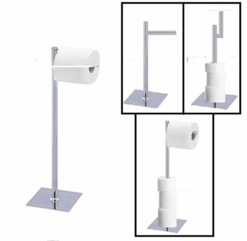 CHROME STAINLESS STEEL BAMBOO WOOD TOILET LOO ROLL HOLDER STORAGE FREE STANDING