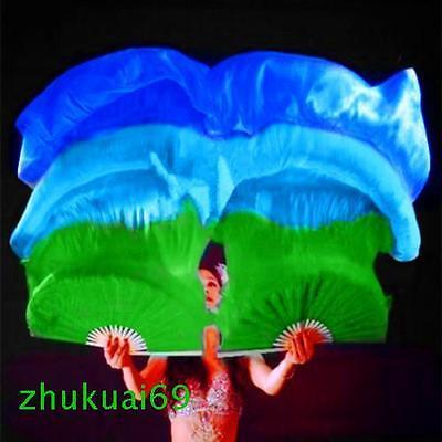 1 pair 1.5m 1.8m long belly dance 100%silk fan veil Green/ blue/ dark blue+Gift