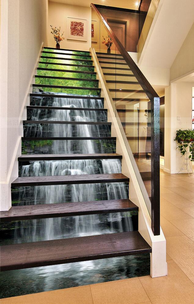 3D Wasserfall 836 Stair Risers Dekoration Fototapete Vinyl Aufkleber Tapete DE