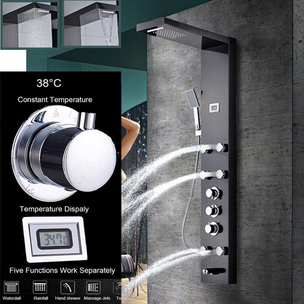 Panel de ducha termostático Hidromasaje de acero inoxidable con ducha de mano