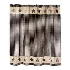 Details About New Primitive Tan Red BLACK STAR Homespun Check Plaid Shower Curtain