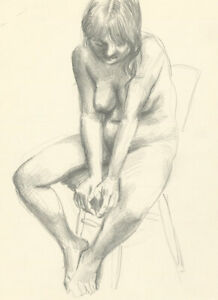 Glyn Morgan (1926-2015) - Graphite Drawing, Seated Female Nude