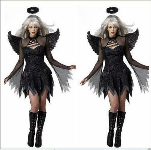 Ladies Black//White Dark Fallen Angel Cosplay Costume Halloween Women Dress new*