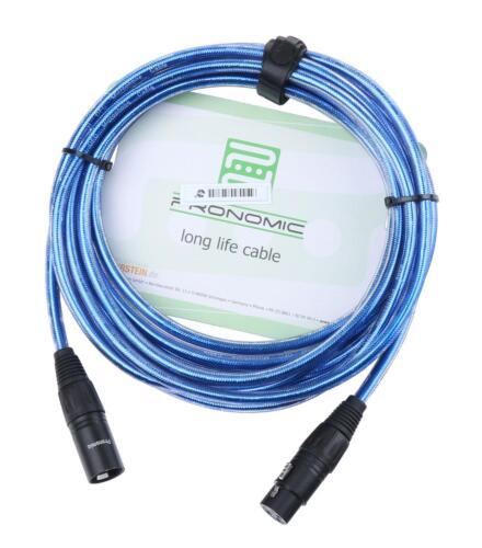 DJ PA Mikrofon Kabel 2,5m Mikro Mic Patch Cable XLR Metallic blue male female