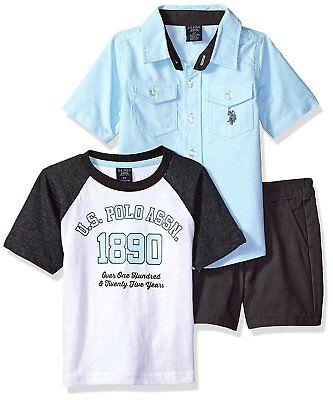 Navy Boys/' 3 Piece Khaki Short Set Size 4,5,6,7 Blue Polo Assn U.S