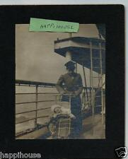 Vintage Photograph Mother & Baby Rosalie on Ocean Liner Ship Deck Early 1900s
