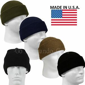Image is loading Genuine-Military-100-Wool-Watch-Cap-Beanie-Cap- cf0d96b6bab