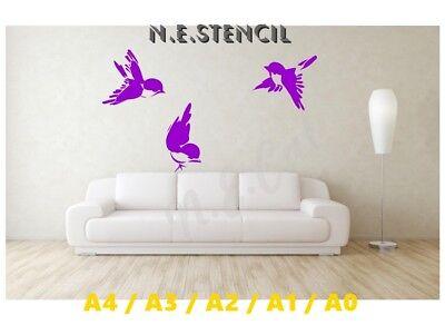 Beautiful Bird Stencil 3 Little Sparrows A5/a4/a3/a2/a1/a0 350 Micron Bird052