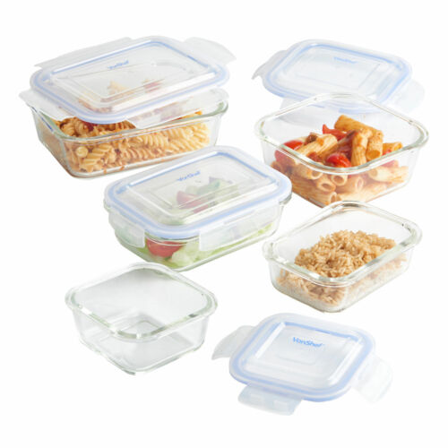 5//12pc Glass Food Container Set with Lids Travel Work Lunch Box Kitchen Storage