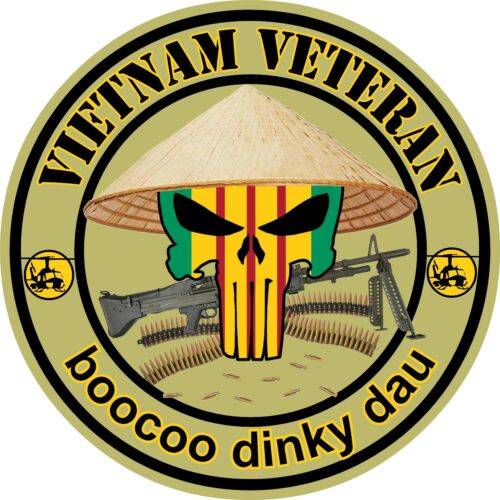 Vietnam War Car Truck window Vietnam Veteran Punisher Skull Vinyl Sticker Decal