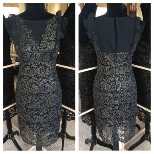et taille Superbe Ladies Velvet or 10 en volants dentelle Mint à Nouveau robe noir en or qOTYxEnUw