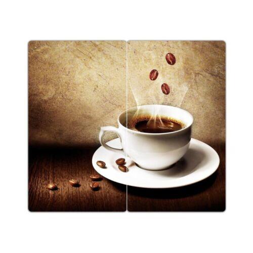 "DEKOGLAS Herdabdeckplatten /""Tasse Kaffee/"" 60x52 Glas Ceranfeld-Abdeckung Herd"
