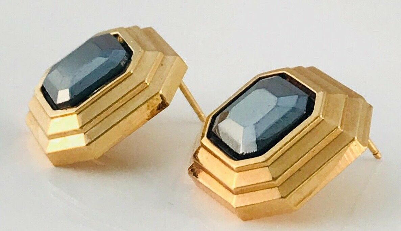 Vintage Lanvin Gold Tone and hematite Square earr… - image 4