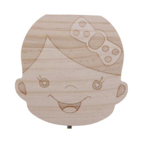 Wooden Tooth Box Organizer for Kids Baby Boys Girls Save Milk Teeth Storage Box