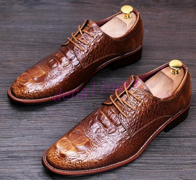 Synthetic Mens Snake Skin Wedding Oxfords dress Lace Up Dress formal shoes US sz