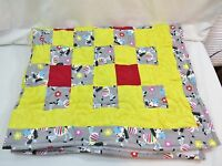 Zebra Handmade Quilt Toddler Throw Size Cotton Yellow/zebra Border