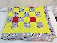 Zebra Handmade Quilt Toddler Throw Size Cotton Yellow/zebra Border