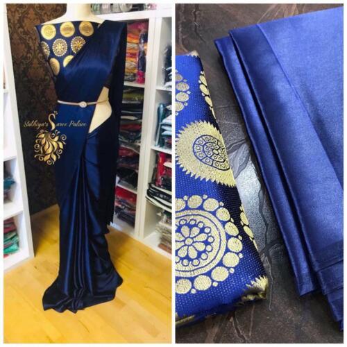 Indian-Ethnic-Bollywood-Beautiful-Designer-Wear-silk-cotton-Banarasi-Sari UK 160