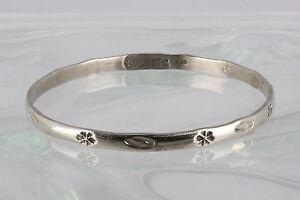 4 Vintage Solid 925 Sterling Silver Stacker Bangle Bracelet S4 Stamped Designs Mexico