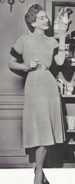 Vintage Knitting PATTERN to make One-Piece Dress 1940s 1950s Retro Angora Trim