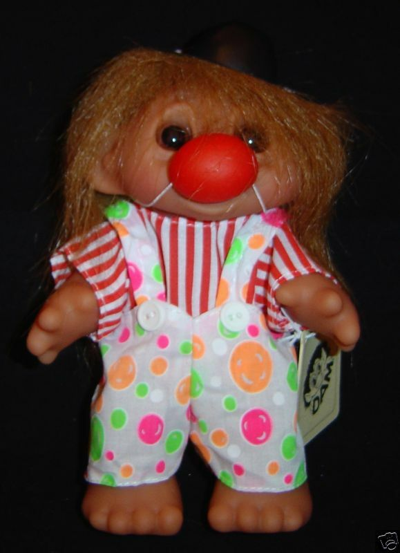 CLOWN Dam Troll Doll BIRTHDAY CIRCUS CLOWN New 7