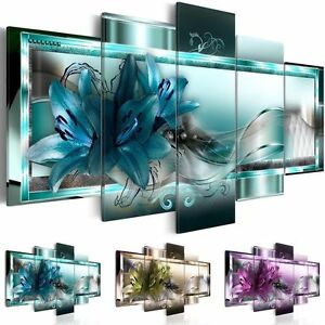 5 panel canvas print modern abstract flower picture giclee wall art home decor ebay. Black Bedroom Furniture Sets. Home Design Ideas