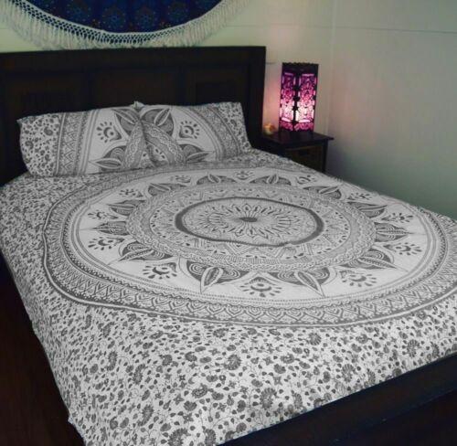 Indian Mandala Single Double Duvet Quilt Cover Bedding Ethnic Boho Blanket Set