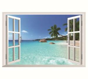 US-STOCK-Wall-Sticker-3D-Window-Hawaii-Beach-Living-Room-Bedroom-Decal-Lobby